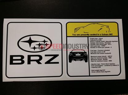 Picture of Subaru BRZ Visor Spec Sheet Sticker