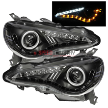 Picture of Spyder BRZ Projector Headlights W/DRL LED (Non Halo)-Black