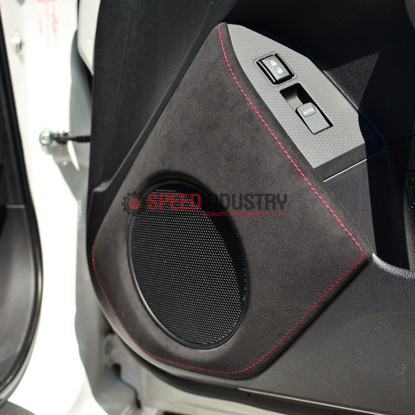 Picture of JPM Coachworks OEM Speaker Trim Black Alcantara Red Stitching (DISCONTINUED)