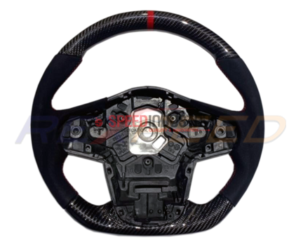 Picture of Rexpeed Supra 2020+ Carbon Fiber Suede Red Steering Wheel-Gloss / Matte